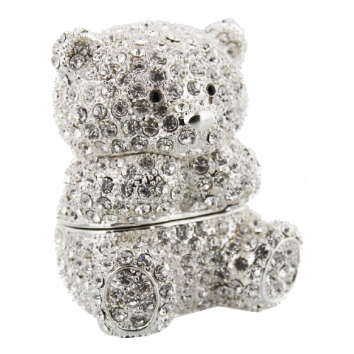 Crystal Teddy Bear Trinket Box Cake Topper and Gift